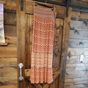A.N.A strapless maxi ruffle bottom dress